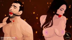 تنبیه برده پسر و دختر توسط ارباب